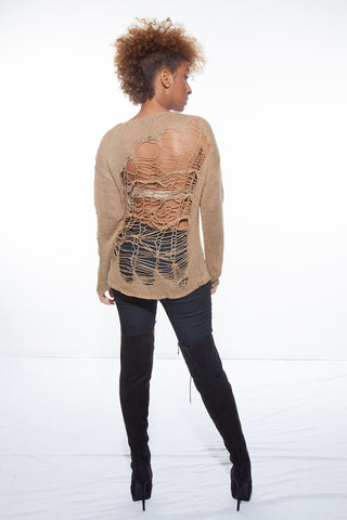 Tami nude ripped sweater