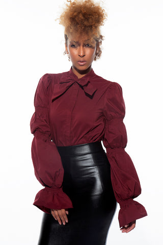 Sheena burgundy puff sleeves blouse