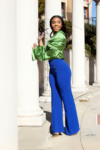 Tinashe Off the Shoulder Green Blouse