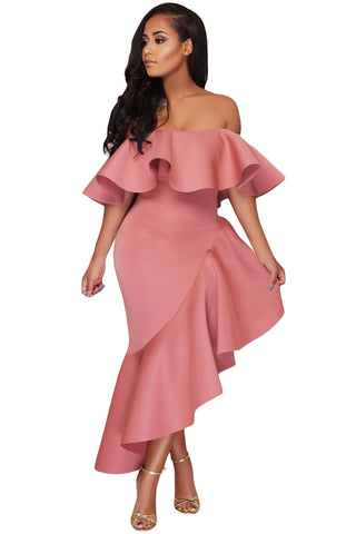 SHI ASYMMETRIC RUFFLE OFF SHOULDER DRESS