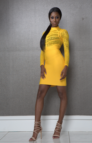Yasmine Yellow Bandage Dress