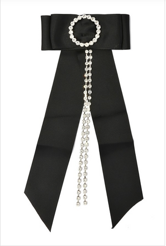 BLACK RHINESTONE RIBBON PIN