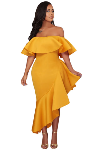 MONICA ASYMMETRIC RUFFLE OFF SHOULDER DRESS