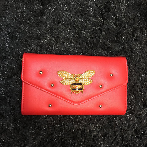 Red Leather Pendant Clutch