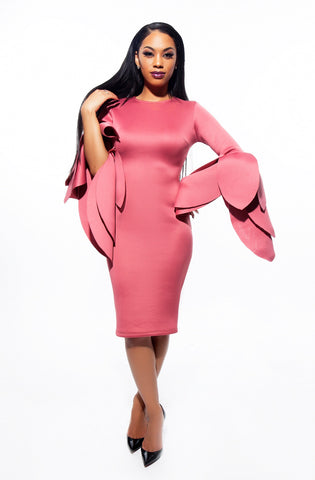 Tyra Long Sleeve Petal Dress