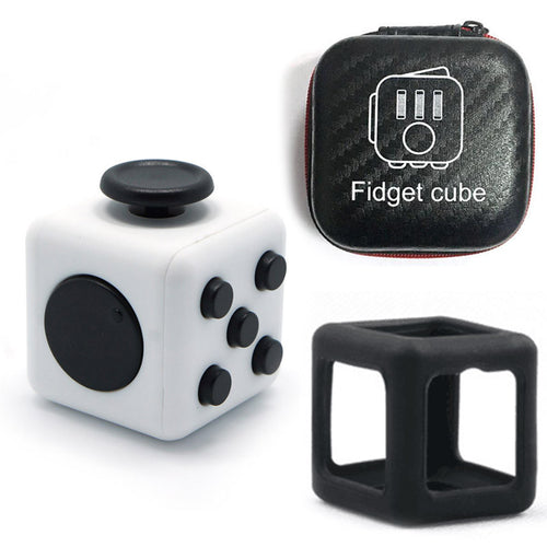 Fidget Cube + Rubber Cover and Zip-up Case