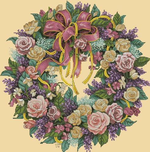 Floral Wreath Cross Stitch Kit Set