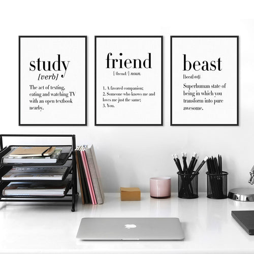 Minimalist Black White Study Happiness Nerd Quotes (no frame)