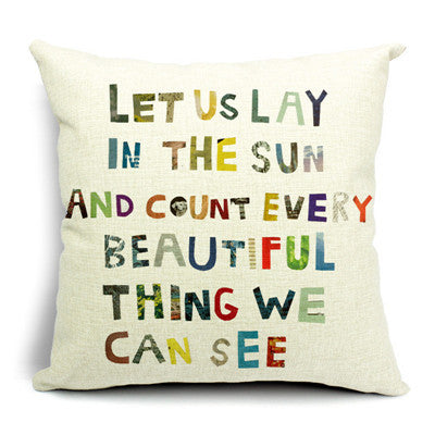 Colourful Letter Print Pillow Cover