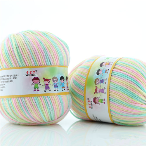500g/lot 63 Colour Soft Silk Fiber Cotton Yarns For Kids