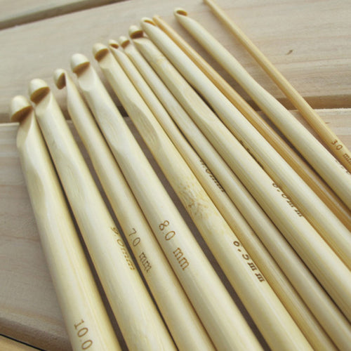 12Pcs/Set 12 Sizes Nature Bamboo Handle Crochet Hooks