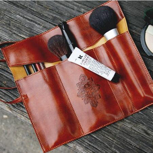 Leather Travel Make Up Bag Toiletry Organizer