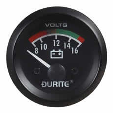 Durite BATTERY CONDITION VOLTMETER  90° SWEEP DIAL