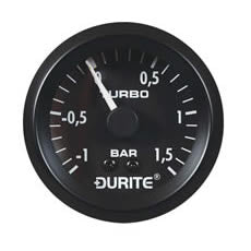 DURITE TURBO BOOST GAUGE, 270° SWEEP DIAL