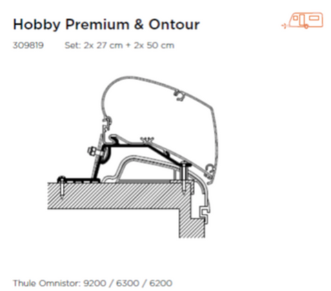 THULE AWNING ADAPTER FOR HOBBY PREMIUM & ONTOUR CARAVAN