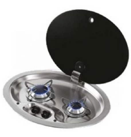 HOODINY OVAL2 BURNER HOB C/W GLASS LID