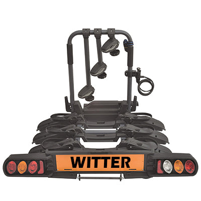 "WITTER ""Pure Instinct"" Towball Mounted 3 Bike Cycle Carrier with foldable rails ZX703"
