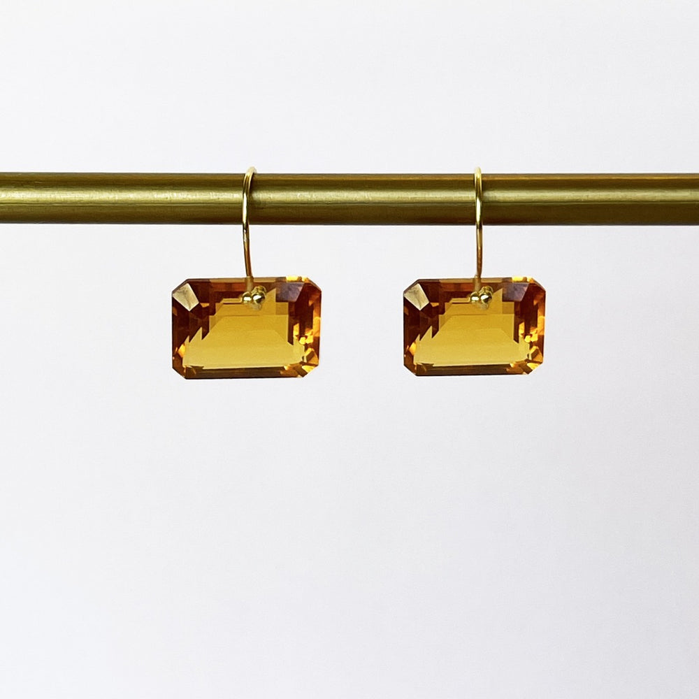 Leonora Citrine Emerald-Cut Gemstone Earrings