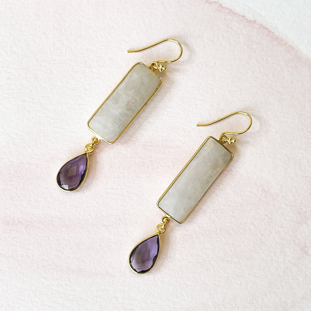 Kara Moonstone Double Drop Earrings