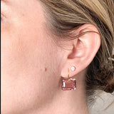 Leonora Pink Tourmaline Emerald-Cut Gemstone Earrings