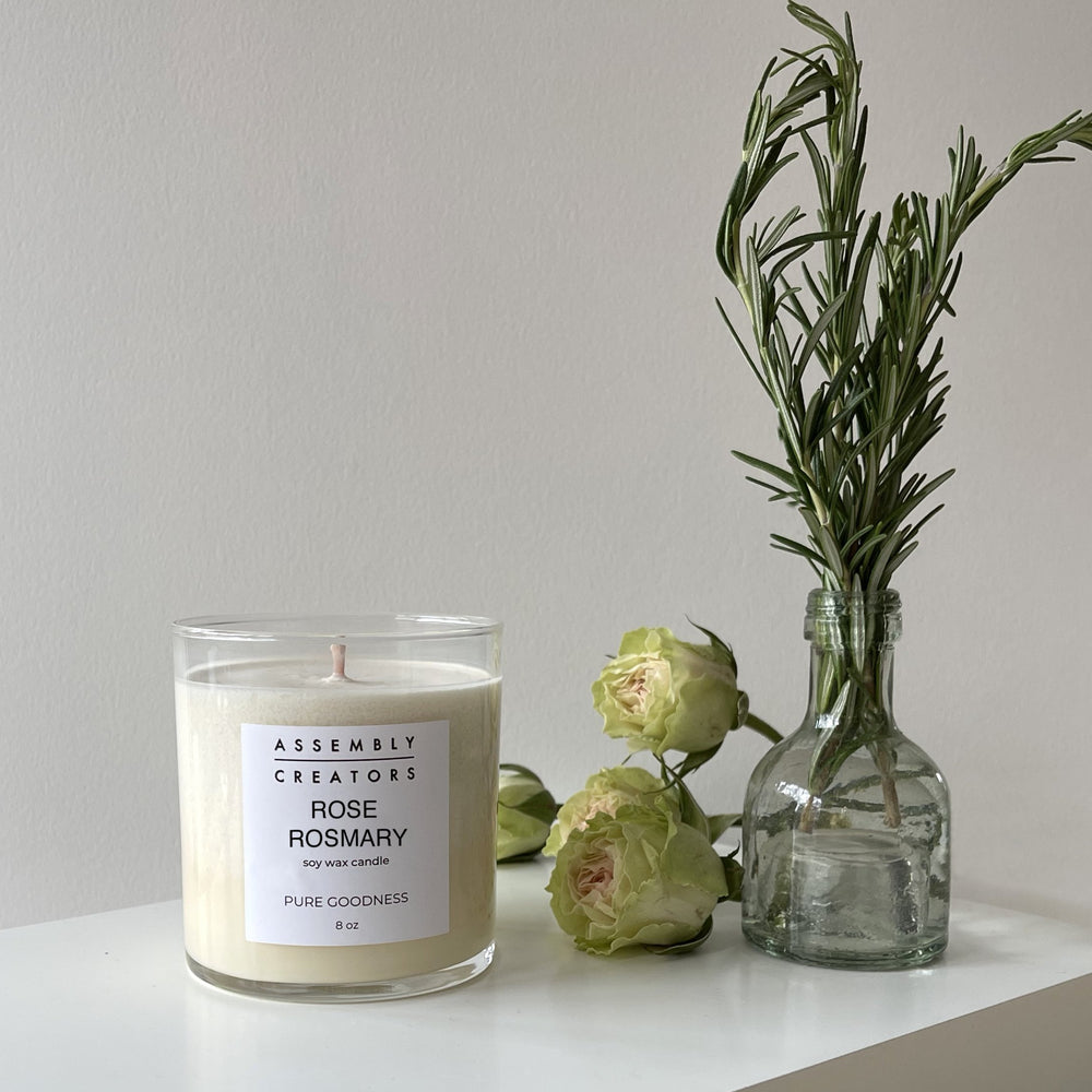 Rose Rosemary - Hand Poured Luxury Soy Candle