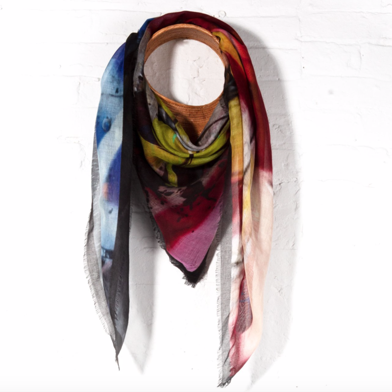 Wild Feathers Oversized Silk Scarf