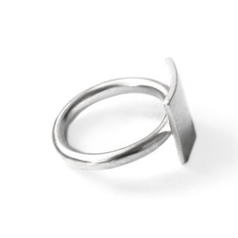 Modern Sterling Silver Square Ring