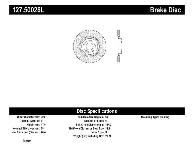 StopTech Slotted & Drilled Sport Brake Rotor - 127.50028L