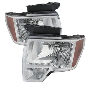Xtune Ford F150 09-14 Amber Crystal LED Headlights Chrom - 5075505