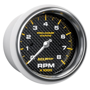 Autometer Marine Carbon Fiber 3-3/8in 8k RPM Tachometer - 200779-40,throtl-dev.
