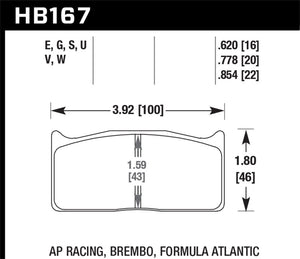 Hawk DTC-80 AP Racing/Alcon/Brembo 20mm Race Brake Pads - HB167Q.778