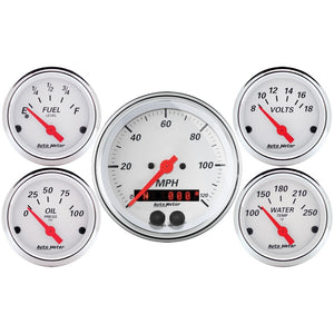 Autometer Arctic White 3-3/8in Electric Speedometer with 2-1/16in Volt/Water/Oil/Fuel - 1350,throtl-dev.