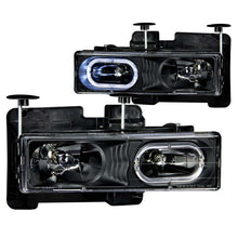 Load image into Gallery viewer, ANZO 1988-1998 Chevrolet C1500 Crystal Headlights Black w/ Halo - 111007