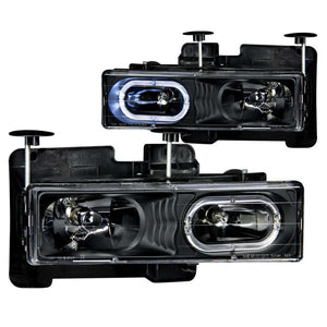 ANZO 1988-1998 Chevrolet C1500 Crystal Headlights Black w/ Halo - 111007
