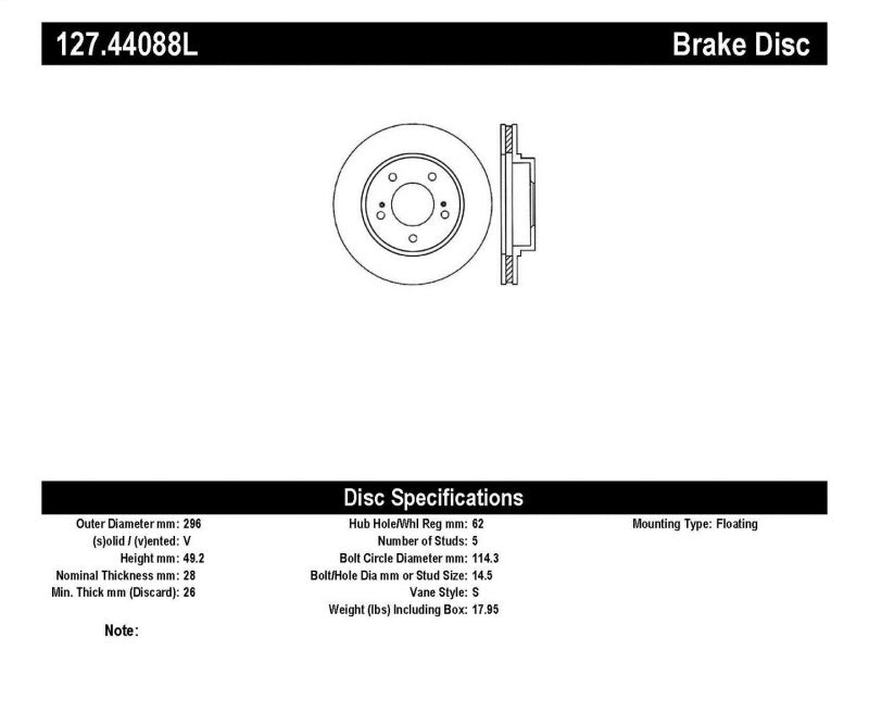 StopTech Slotted & Drilled Sport Brake Rotor - 127.44088L,throtl-dev.