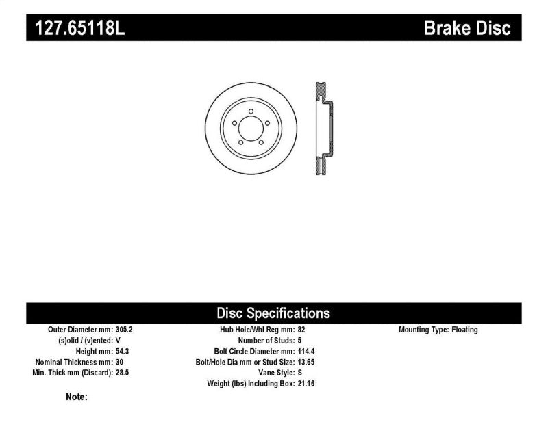StopTech Slotted & Drilled Sport Brake Rotor - 127.65118L,throtl-dev.