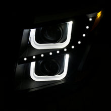 Load image into Gallery viewer, ANZO 2015-2016 Chevrolet Tahoe Projector Headlights w/ U-Bar Black Clear - 111340