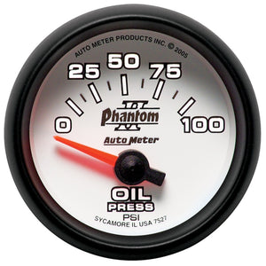 Autometer Phantom II 52mm Short Sweep Electronic 0-100psi Oil Pressure - 7527,throtl-dev.