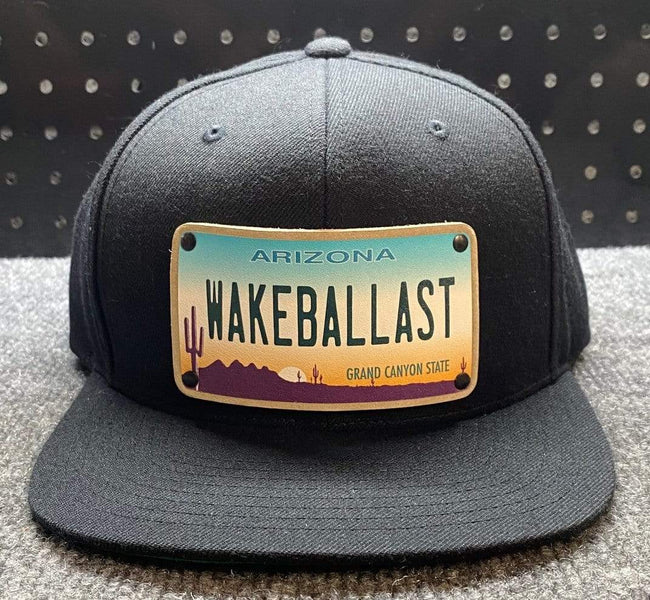 WakeBallast flat bill hat, Black, Adjustable Size Snapback - wakeballast