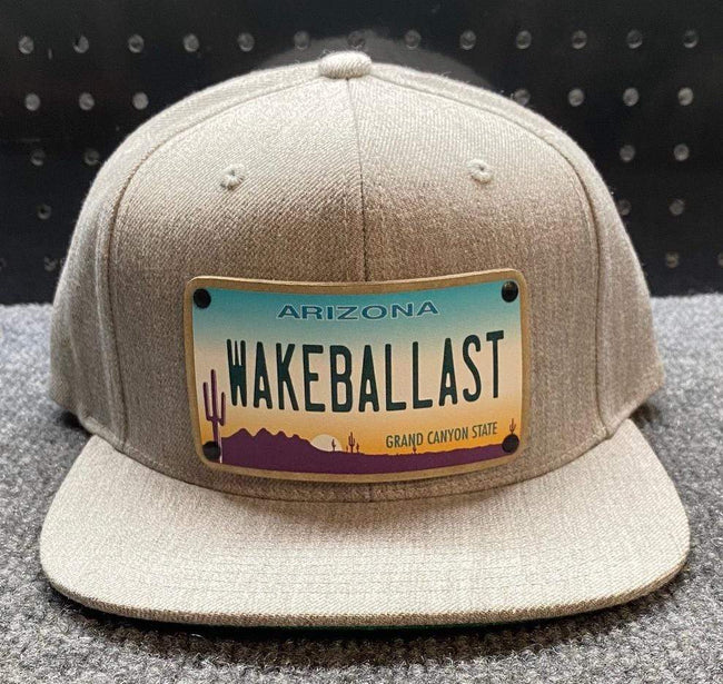 WakeBallast flat bill hat, Grey, Adjustable Size Snapback - wakeballast
