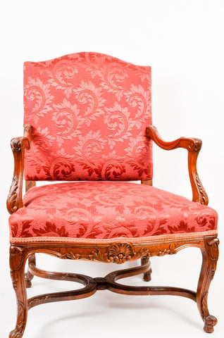 Carved Mahogany Armchair in Satin Upholstery