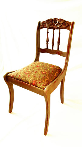 Side Chair with Carved Flower