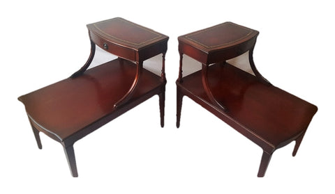 Mahogany Two-Tier Side Tables