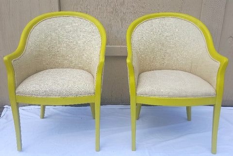 (SOLD) 2 Barrel-Back Chairs in Accent Color