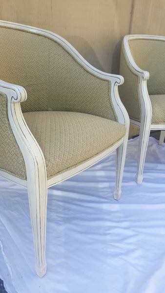 Country White Barrel-Back Chairs