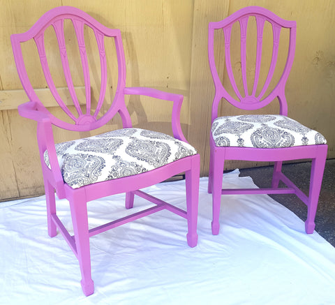 Pink Shield-Back Chairs