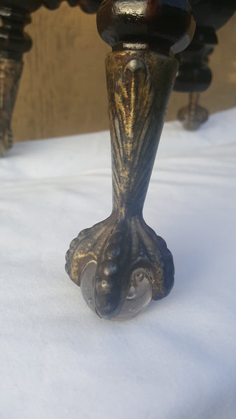 (SOLD) Victorian Wooden Stool with Glass Ball Claw Feet