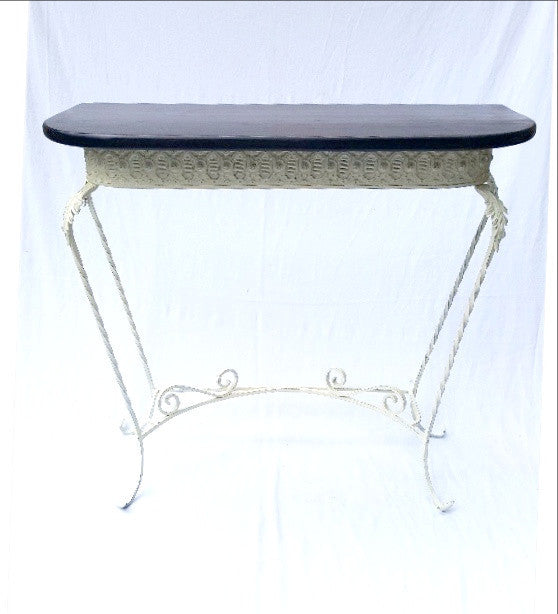 Stylish Wrought Iron Table W/Hardwood Top