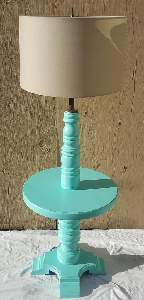 Vintage Wooden Lamp Table (Light Blue)