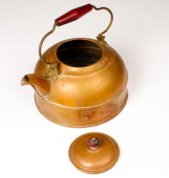 Copper teapot by Revere (Red handle)